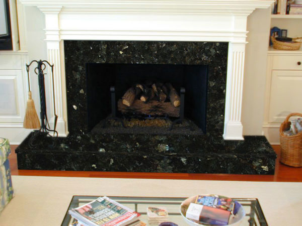 fireplace, granite, granite fireplace,blue granite